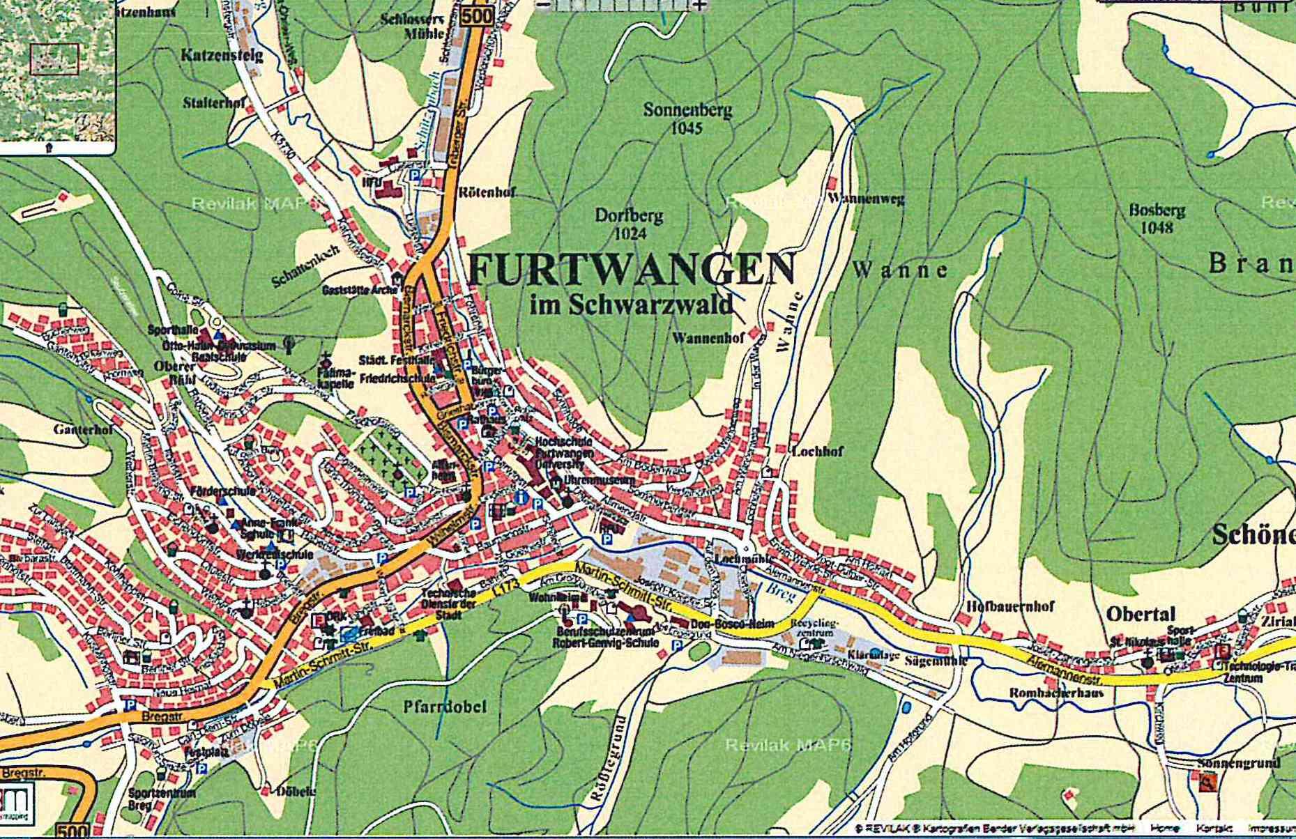 Furtwangen im Schwarzwald: Stadtplan